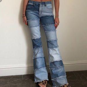 Vintage Retro 90s Zana Di Patchwork Jeans sz 9